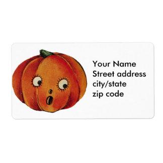 Surprised Halloween Pumpkin Shipping Label