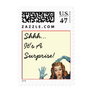"Surprised Lady ""Shhh"" It's A Surprise! Any Party!! Postage"