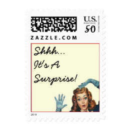 """Surprised Lady """"Shhh"""" It's A Surprise! Any Party!! Postage"""