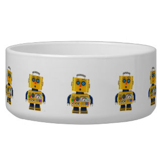 Surprised looking toy robot bowl