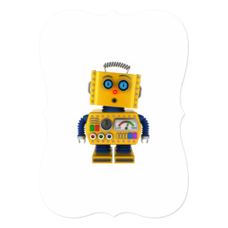 Surprised looking toy robot card
