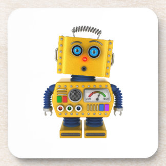 Surprised looking toy robot coaster
