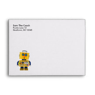 Surprised looking toy robot envelope