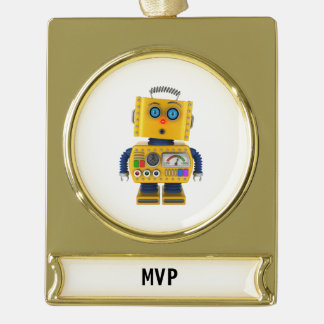 Surprised looking toy robot gold plated banner ornament