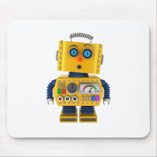 Surprised looking toy robot mouse pad