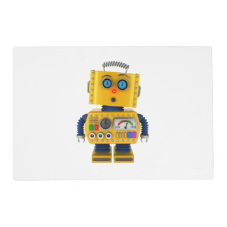 Surprised looking toy robot placemat