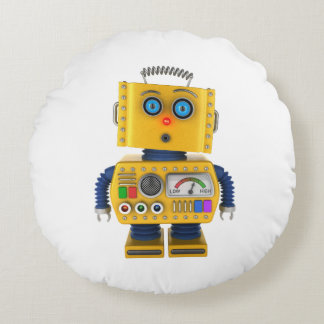Surprised looking toy robot round pillow