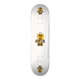 Surprised looking toy robot skateboard deck
