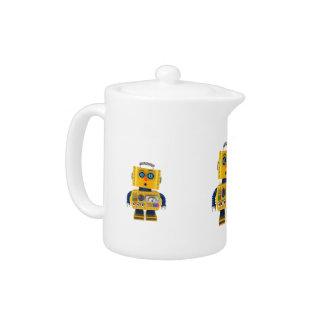 Surprised looking toy robot teapot