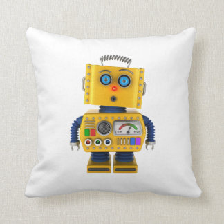 Surprised looking toy robot throw pillow
