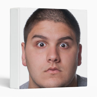 Surprised Man's Face 3 Ring Binder