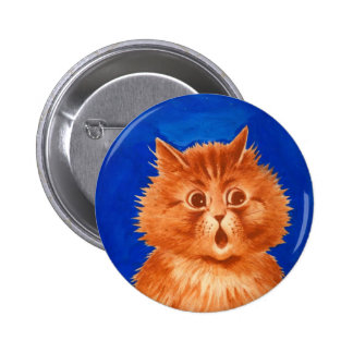Surprised Orange Cat by Louis Wain Buttons
