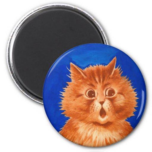 Surprised Orange Cat by Louis Wain 2 Inch Round Magnet