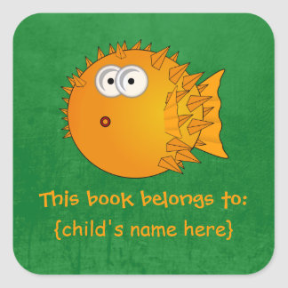 Surprised Orange Puffer fish - Book Belongs To Square Sticker
