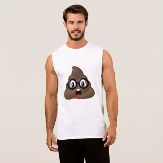 Surprised Poop Glasses Emoji Sleeveless Shirt