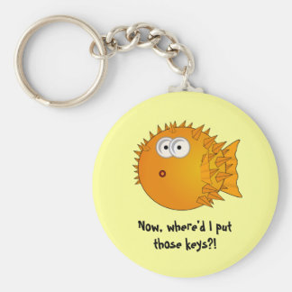 Surprised Puffer Fish - funny sayings Keychain