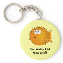 Surprised Puffer Fish - funny sayings Keychains