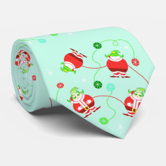 Surprised Santa (pattern) mint-green necktie