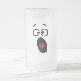 Surprised Scared Screaming Yellow Smiley Face Frosted Glass Beer Mug