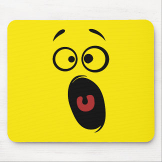 Surprised Scared Screaming Yellow Smiley Face Mouse Pad