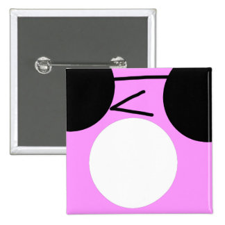 Surprised Shocked Emoticon Cool Pink & Black Face Buttons