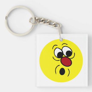 Surprised Smiley Face Grumpey Keychain