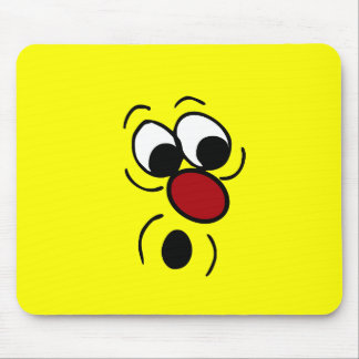 Surprised Smiley Face Grumpey Mouse Pad