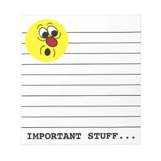 Surprised Smiley Face Grumpey Notepad