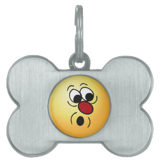 Surprised Smiley Face Grumpey Pet Name Tag