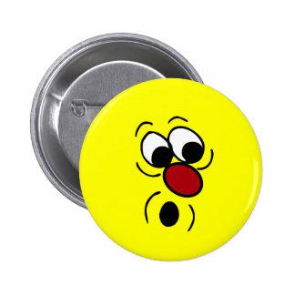 Surprised Smiley Face Grumpey Pinback Button