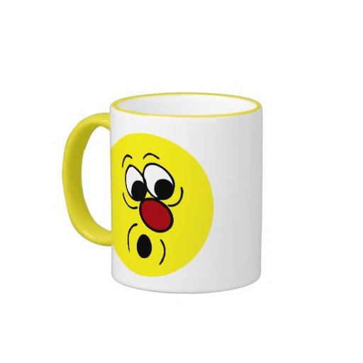 Surprised Smiley Face Grumpey Ringer Coffee Mug