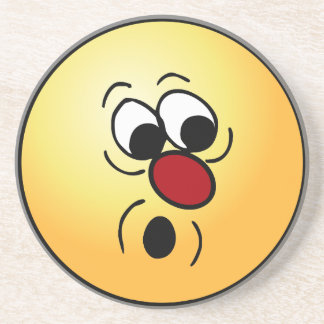 Surprised Smiley Face Grumpey Sandstone Coaster