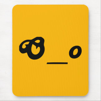 surprised worried O underscore o text emote face Mouse Pad