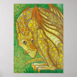 Surprised Yellow Dragon big eye fantasy Art Poster