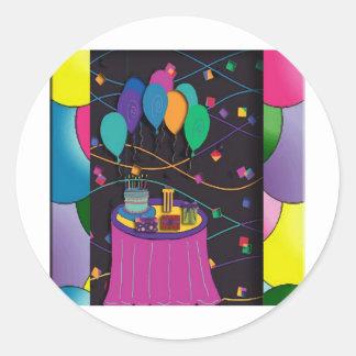 surprisepartyyinvitationballoons pegatina redonda