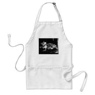 Surprising Friendship - Cat Minnie and Mike Mouse Adult Apron