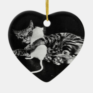 Surprising Friendship - Cat Minnie and Mike Mouse Ceramic Ornament