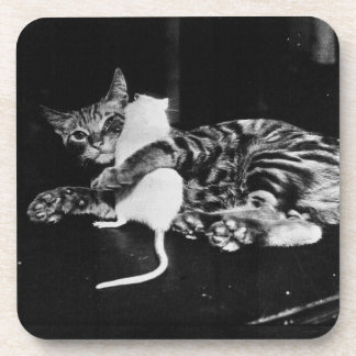 Surprising Friendship - Cat Minnie and Mike Mouse Drink Coaster