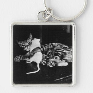 Surprising Friendship - Cat Minnie and Mike Mouse Keychain