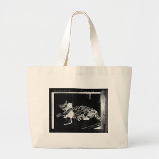 Surprising Friendship - Cat Minnie and Mike Mouse Large Tote Bag