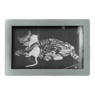 Surprising Friendship - Cat Minnie and Mike Mouse Rectangular Belt Buckle