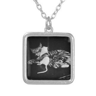 Surprising Friendship - Cat Minnie and Mike Mouse Silver Plated Necklace