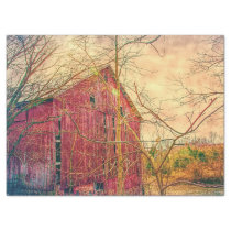 Surreal and Gorgeous Red Barn Tissue Paper