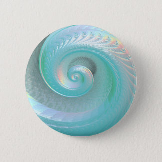 Surreal Aqua Jade Rainbow Shell Pinback Button