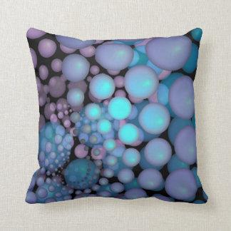 Surreal Art Fractal Turquoise Balls Throw Pillows
