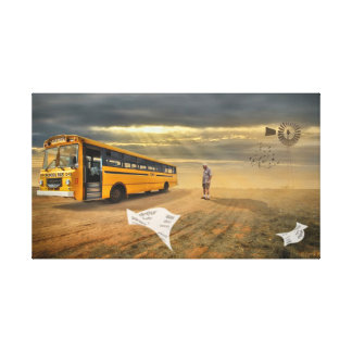 Surreal Art Late For School Australian Outback Canvas Print