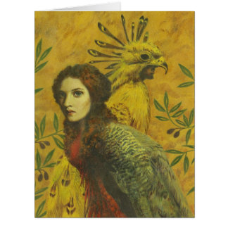 Surreal Bird Lady Large Greetings Card