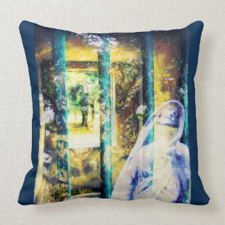 Surreal Blue Gothic Cemetery Pillow