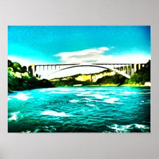 Surreal Bridge Over Water Poster