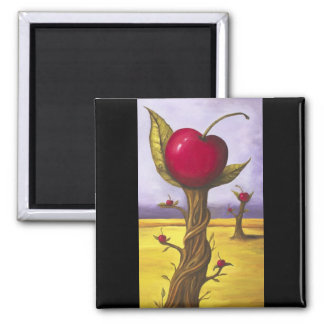 Surreal Cherry Tree 2 Inch Square Magnet